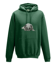 JanaRoos - Hoodie - Packshot - Hand drawn illustration - Round neck - Long sleeves - Cotton - bottle green -pugg- mops