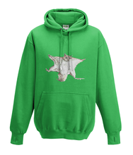 JanaRoos - Hoodies - Kids Hoodie - Packshot - Hand drawn illustration - Round neck - Long sleeves - Cotton - kelly green - gras groen - flying squirrel - vliegende eekhoorn