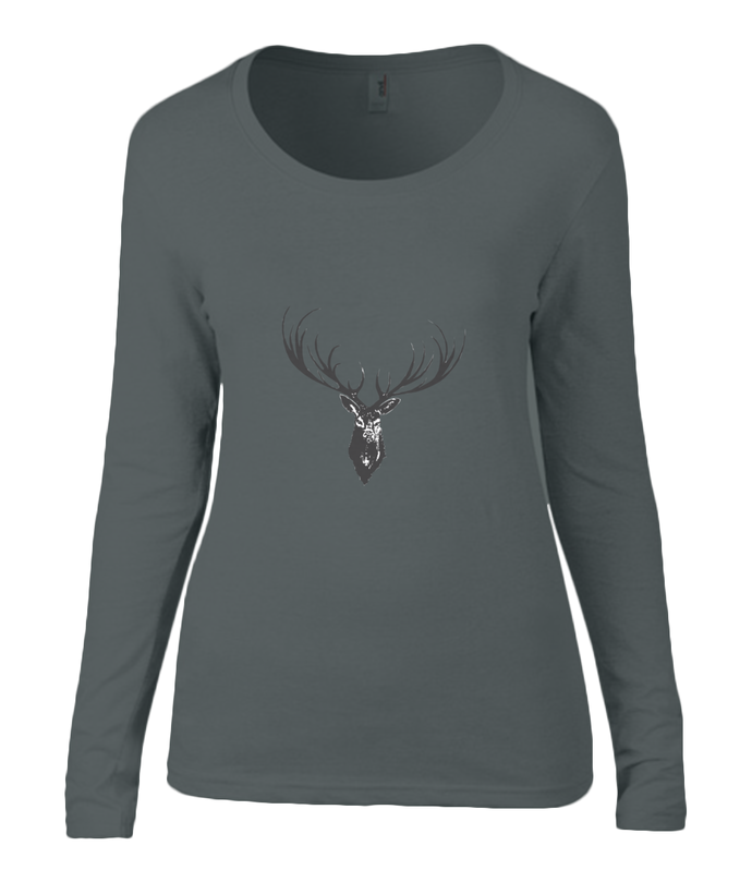 Women T-shirt -  organic cotton - long sleeved - round neck - black - zwart - printdesign - drawing - JanaRoos - reindeer - deer - rendier - hert