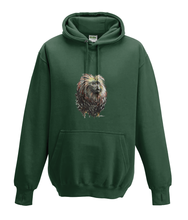 JanaRoos - Hoodies - Kids Hoodie - Packshot - Hand drawn illustration - Round neck - Long sleeves - Cotton - forest green - mos groen - golden lion monkey - leeuwaapje