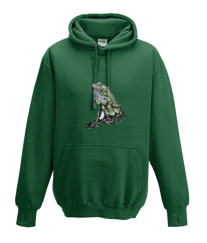 JanaRoos - Hoodies - Kids Hoodie - Packshot - Hand drawn illustration - Round neck - Long sleeves - Cotton - bottle green - flesgroen  - iguana - igujana - colored - gekleurd