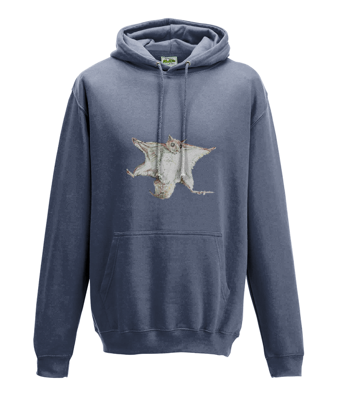 JanaRoos - Hoodie - Packshot - Hand drawn illustration - Round neck - Long sleeves - Cotton - airforce blue - flying squirrel - vliegende eekhhoorn