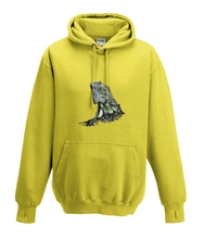 JanaRoos - Hoodies - Kids Hoodie - Packshot - Hand drawn illustration - Round neck - Long sleeves - Cotton - yellow - geel - iguana - igujana - colored - gekleurd