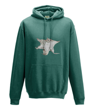 JanaRoos - Hoodie - Packshot - Hand drawn illustration - Round neck - Long sleeves - Cotton -jade - flying squirrel - vliegende eekhhoorn