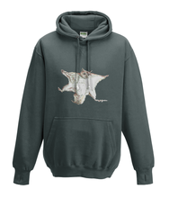 JanaRoos - Hoodies - Kids Hoodie - Packshot - Hand drawn illustration - Round neck - Long sleeves - Cotton - charcoal grey - grijs - flying squirrel - vliegende eekhoorn