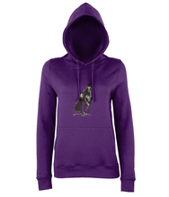 JanaRoos - women's Hoodie - Packshot - Hand drawn illustration - Round neck - Long sleeves - Cotton - purple- Black merrie-horse