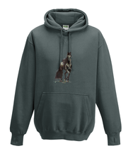 JanaRoos - Hoodies - Kids Hoodie - Packshot - Hand drawn illustration - Round neck - Long sleeves - Cotton - charcoal .grey - grijs- horse - black merrie - paard