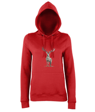 JanaRoos - women's Hoodie - Packshot - Hand drawn illustration - Round neck - Long sleeves - Cotton - red - deer colored