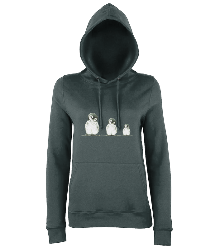 JanaRoos - women's Hoodie - Packshot - Hand drawn illustration - Round neck - Long sleeves - Cotton -charcoal grey - penguins