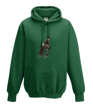 JanaRoos - Hoodies - Kids Hoodie - Packshot - Hand drawn illustration - Round neck - Long sleeves - Cotton - bottle green - fles groen - horse - black merrie - paard