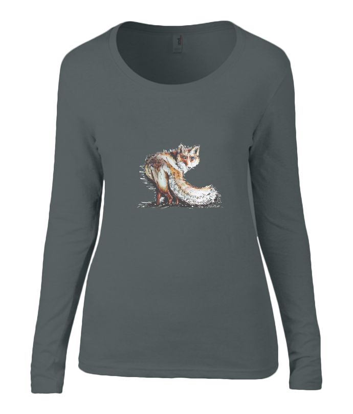 Women T-shirt -  organic cotton - long sleeved - round neck - black - zwart - printdesign - drawing - JanaRoos - fox - foxy - vos