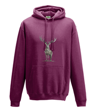 JanaRoos - Hoodie - Packshot - Hand drawn illustration - Round neck - Long sleeves - Cotton -burgundy - deer