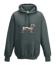 JanaRoos - Hoodies - Kids Hoodie - Packshot - Hand drawn illustration - Round neck - Long sleeves - Cotton - charcoal grey - grijs - dachshund - teckel - dog - hond