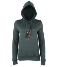 JanaRoos - women's Hoodie - Packshot - Hand drawn illustration - Round neck - Long sleeves - Cotton -charcoal grey - Black merrie-horse