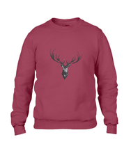 JanaRoos - Unisex sweater - Hand drawn illustration - Print design -black ink - zwarte inkt - independence red - diep rood -  Reindeer - deer - rendier - hert