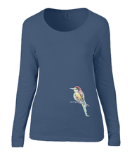 Women T-shirt -  organic cotton - long sleeved - round neck - navy blue - marine blauw - printdesign - drawing - JanaRoos -Navy Blue - marine blauw - colorful bird - kingfisher - ijsvogel - vogel