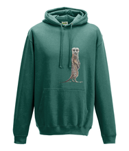 JanaRoos - Hoodie - Packshot - Hand drawn illustration - Round neck - Long sleeves - Cotton - jade - Meerkat - stokstaartje