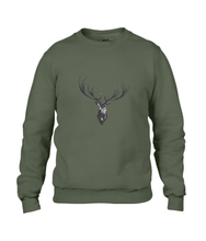 JanaRoos - Unisex sweater - Hand drawn illustration - Print design -black ink - zwarte inkt - city green - khaki groen -  Reindeer - deer - rendier - hert