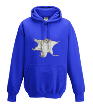 JanaRoos - Hoodies - Kids Hoodie - Packshot - Hand drawn illustration - Round neck - Long sleeves - Cotton - royal blue -  royaal marine blauw - flying squirrel - vliegende eekhoorn