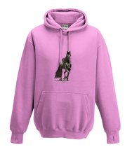 JanaRoos - Hoodies - Kids Hoodie - Packshot - Hand drawn illustration - Round neck - Long sleeves - Cotton - candy pink - snoep roos - horse - black merrie - paard