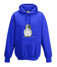 JanaRoos - Hoodies - Kids Hoodie - Packshot - Hand drawn illustration - Round neck - Long sleeves - Cotton - royal navy blue - marine blauw - Penguin - Pinguïn