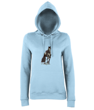 JanaRoos - women's Hoodie - Packshot - Hand drawn illustration - Round neck - Long sleeves - Cotton -sky blue- Black merrie-horse
