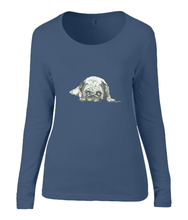 Women T-shirt -  organic cotton - long sleeved - round neck - navy blue - marine blauw - printdesign - drawing - JanaRoos - Pugg - mops - dog - hond
