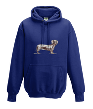 JanaRoos - Hoodies - Kids Hoodie - Packshot - Hand drawn illustration - Round neck - Long sleeves - Cotton - oxford navy blue - marine blauw - dachshund - teckel - dog - hond