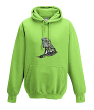 JanaRoos - Hoodies - Kids Hoodie - Packshot - Hand drawn illustration - Round neck - Long sleeves - Cotton -lime green - lemoen groen - iguana - igujana - colored - gekleurd