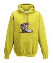 JanaRoos - Hoodies - Kids Hoodie - Packshot - Hand drawn illustration - Round neck - Long sleeves - Cotton - yellow - geel -fox - vos