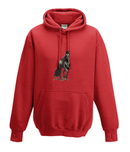 JanaRoos - Hoodies - Kids Hoodie - Packshot - Hand drawn illustration - Round neck - Long sleeves - Cotton - fire red - vuurrood- horse - black merrie - paard