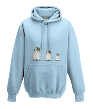 JanaRoos - Hoodies - Kids Hoodie - Packshot - Hand drawn illustration - Round neck - Long sleeves - Cotton - sky blue - hemels blauw - Penguins - Pinguïns