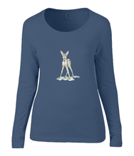 Women T-shirt -  organic cotton - long sleeved - round neck - navy blue - marine blauw - printdesign - drawing - JanaRoos -Navy Blue - marine blauw - bambi - baby deer - hert