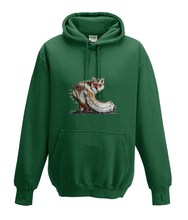 JanaRoos - Hoodies - Kids Hoodie - Packshot - Hand drawn illustration - Round neck - Long sleeves - Cotton - bottle green - fles groen - fox - vos