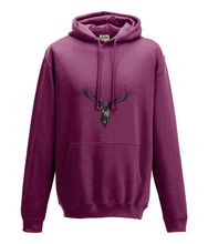 JanaRoos - Hoodie - Packshot - Hand drawn illustration - Round neck - Long sleeves - Cotton - burgundy - deer