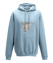 JanaRoos - Hoodie - Packshot - Hand drawn illustration - Round neck - Long sleeves - Cotton -sky blue - flying squirrel - vliegende eekhhoorn