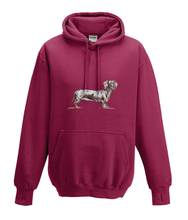 JanaRoos - Hoodies - Kids Hoodie - Packshot - Hand drawn illustration - Round neck - Long sleeves - Cotton - red hot chilli - dieprood - dachshund - teckel - dog - hond