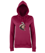 JanaRoos - women's Hoodie - Packshot - Hand drawn illustration - Round neck - Long sleeves - Cotton -red hot chilli -squirrel