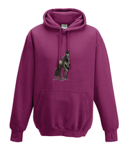 JanaRoos - Hoodies - Kids Hoodie - Packshot - Hand drawn illustration - Round neck - Long sleeves - Cotton - burgundy - licht paars - horse - black merrie - paard