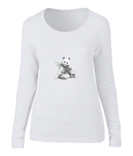 Women T-shirt -  organic cotton - long sleeved - round neck - white - wit - printdesign - drawing - JanaRoos -Panda bear - beer