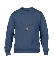 JanaRoos - Unisex sweater - Hand drawn illustration - Print design -black ink - zwarte inkt - navy blue - marine blauw -  Reindeer - deer - rendier - hert