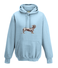 JanaRoos - Hoodies - Kids Hoodie - Packshot - Hand drawn illustration - Round neck - Long sleeves - Cotton - sky blue - hemels blauw - dachshund - teckel - dog - hond
