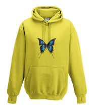 JanaRoos - Hoodies - Kids Hoodie - Packshot - Hand drawn illustration - Round neck - Long sleeves - Cotton - yellow - geel -  butterfly - vlinder