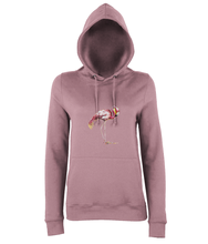 JanaRoos - women's Hoodie - Packshot - Hand drawn illustration - Round neck - Long sleeves - Cotton -dusty pink - flamingo