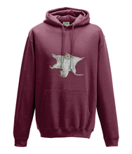 JanaRoos - Hoodie - Packshot - Hand drawn illustration - Round neck - Long sleeves - Cotton - brick red - flying squirrel - vliegende eekhhoorn
