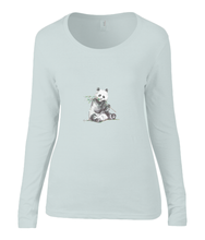 Women T-shirt -  organic cotton - long sleeved - round neck - silver grey - zilver grijs-  printdesign - drawing - JanaRoos -Panda bear - beer