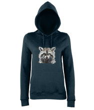 JanaRoos - women's Hoodie - Packshot - Hand drawn illustration - Round neck - Long sleeves - Cotton -new french navy blue - raccoon