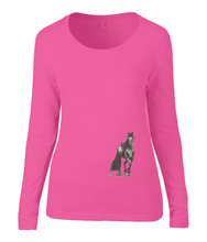 Women T-shirt -  organic cotton - long sleeved - round neck - coral pink - roos - printdesign - drawing - JanaRoos - horse - black merrie - paard