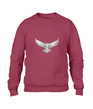 JanaRoos - T-shirts and Sweaters - Sweater - Packshot - Hand drawn illustration - Round neck - Long sleeves - Cotton - independence red - snowy owl - sneeuwuil