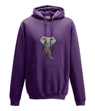 JanaRoos - Hoodie - Packshot - Hand drawn illustration - Round neck - Long sleeves - Cotton - plum- olifant - elephant